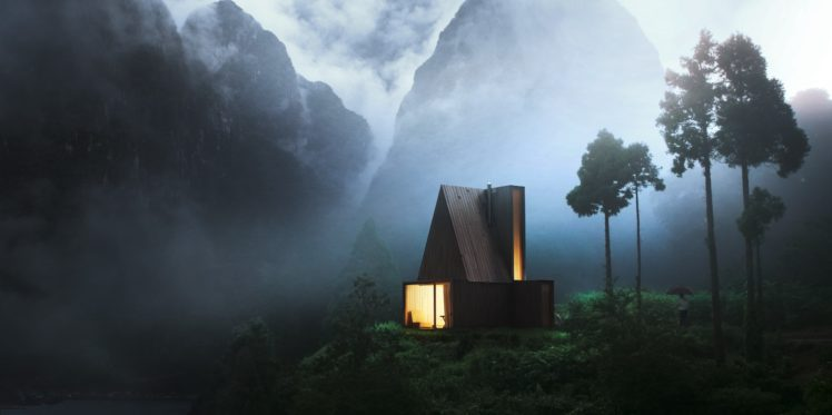 cabin, Forest, Wood, Night, Mountains, Lights, House, Mist HD Wallpaper Desktop Background