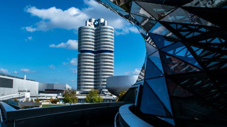 architecture, Building, Modern, Skyscraper, Glass, Balcony, Clouds, Cityscape, Museum, Munich, BMW, Germany HD Wallpaper Desktop Background