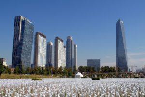 architecture, Building, Skyscraper, Cityscape, South Korea, Songdo, Trees