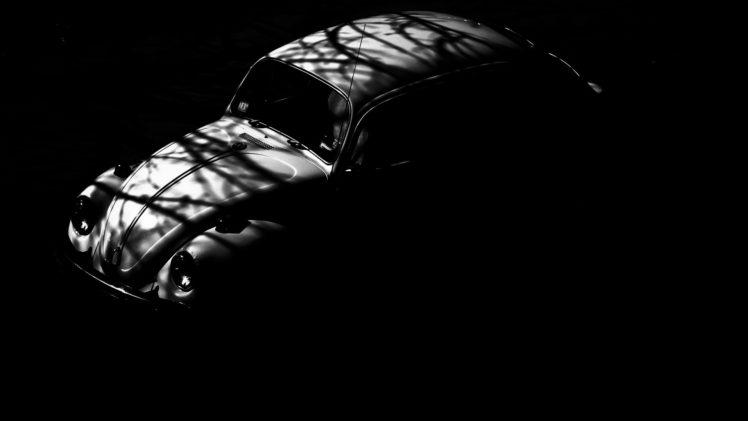 vehicle, Car, Volkswagen Beetle, Shadow, Monochrome, Vintage, Vintage car HD Wallpaper Desktop Background