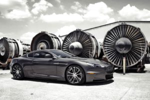 vehicle, Car, Turbines, Aston Martin, Aston Martin DBS, Hangar, Clouds, Sunlight