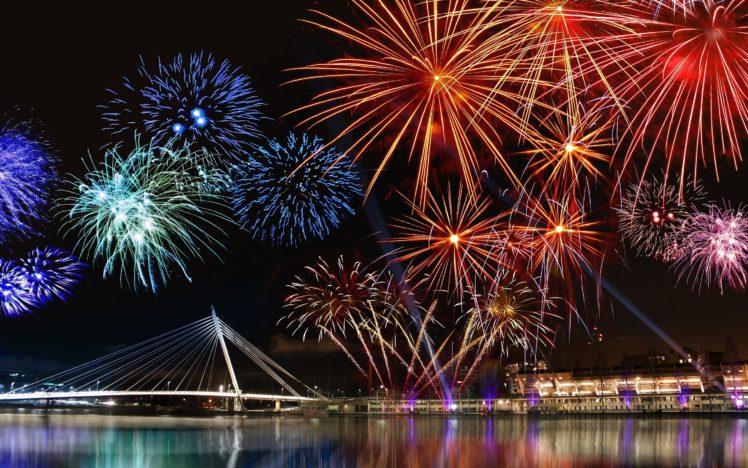 New Year, Fireworks, Cityscape HD Wallpaper Desktop Background