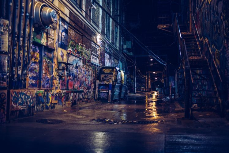 photography, Street, Alleyway, City, Night, Graffiti, Reflection, Building, Stairs HD Wallpaper Desktop Background
