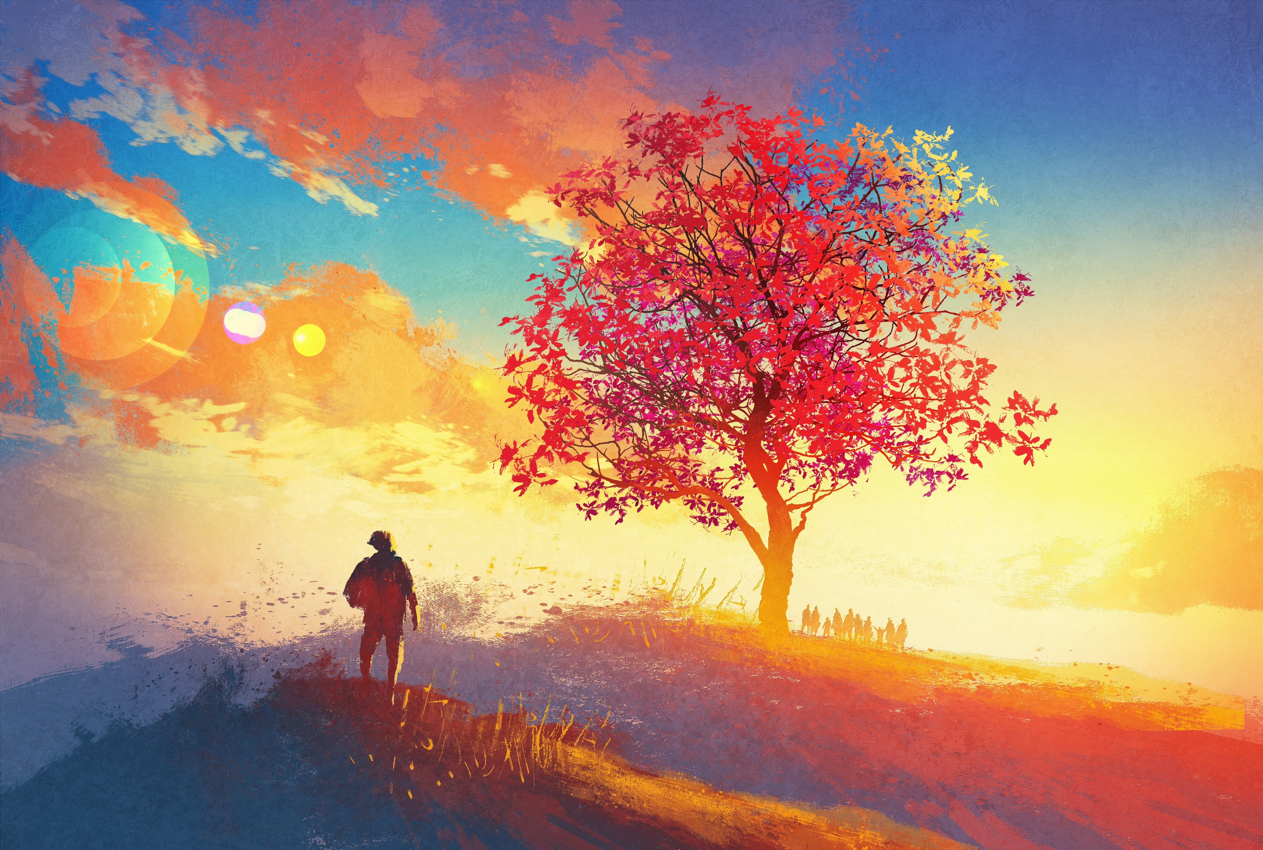 Abstract Art Red Sky Desktop Hd Artworks Desktop: Artwork, Colorful, Sunrise, Sky HD Wallpapers / Desktop