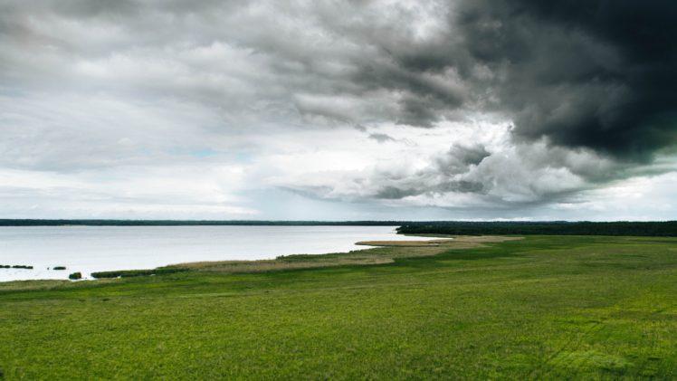 clouds, Sky, Landscape, Lithuania, Lake, Depth of field HD Wallpaper Desktop Background