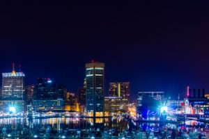 cityscape, Baltimore, Night, City lights