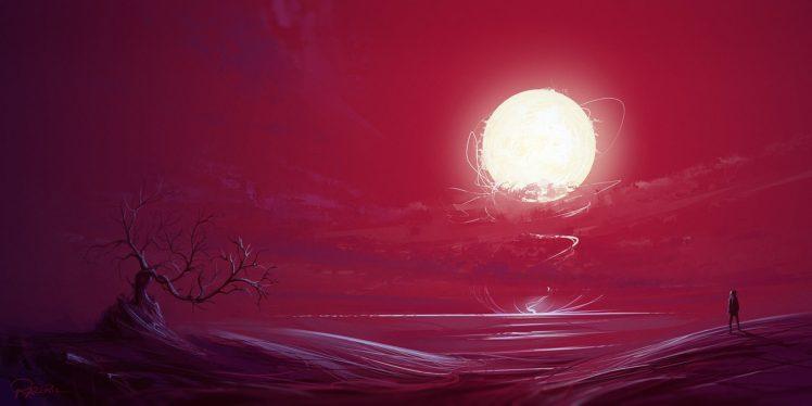 illustration, Fantasy art, Sunset, Bonsai, Sun, Red, Artwork HD Wallpaper Desktop Background