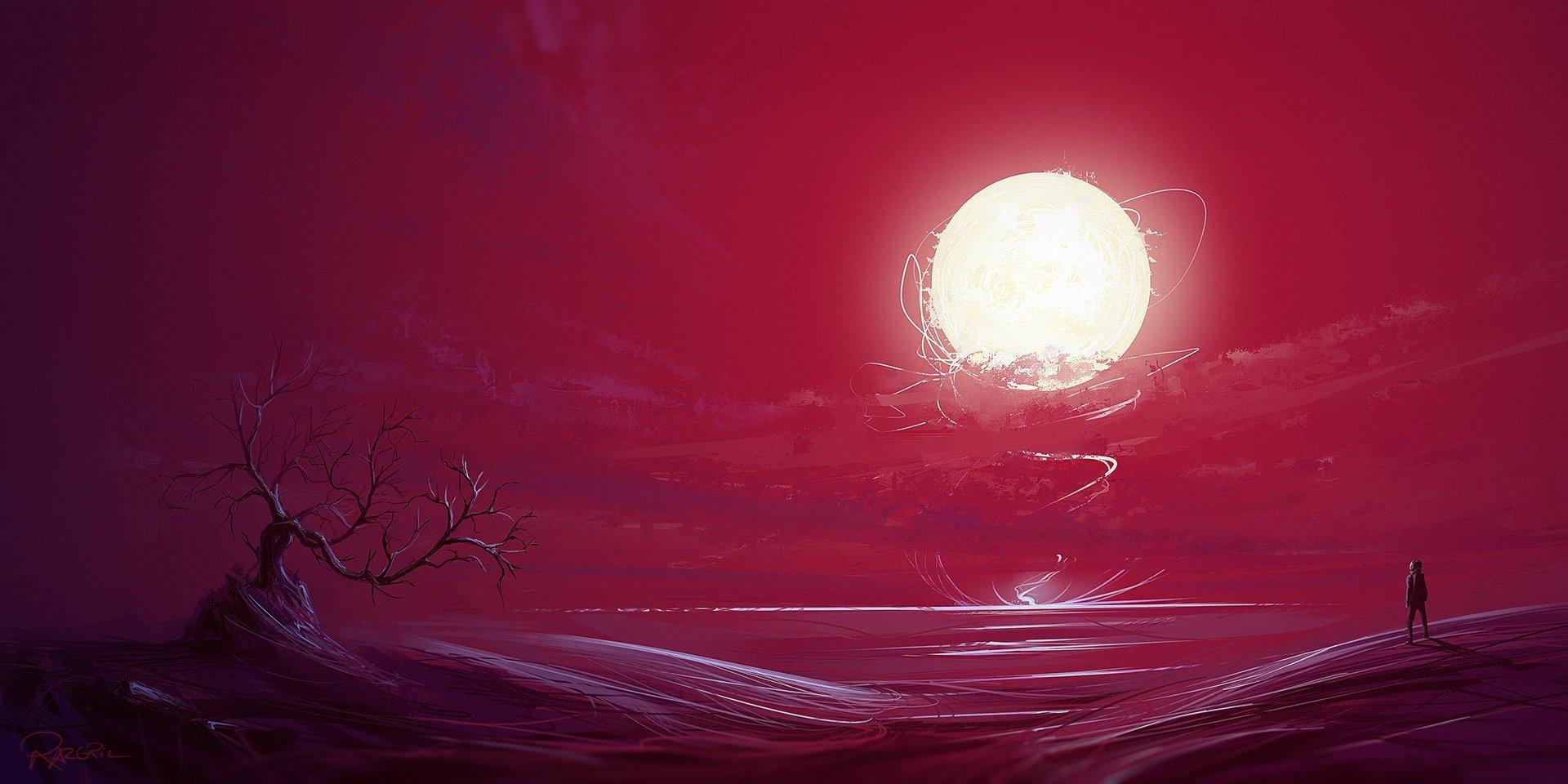 illustration, Fantasy art, Sunset, Bonsai, Sun, Red, Artwork Wallpaper