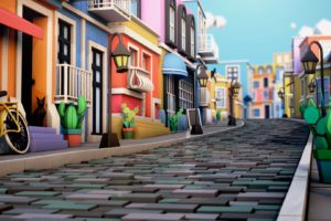 illustration, Cinema 4D, Town square, House, Cactus