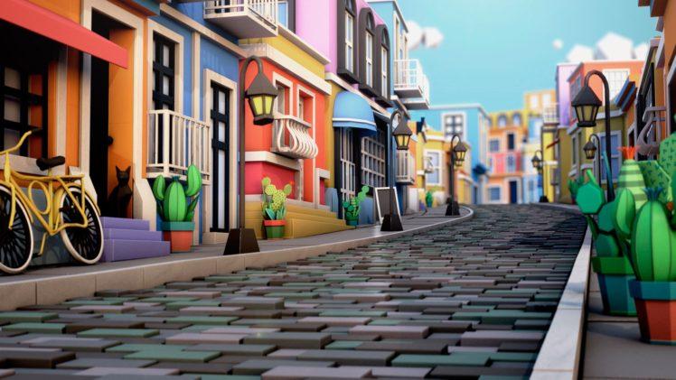 illustration, Cinema 4D, Town square, House, Cactus HD Wallpaper Desktop Background