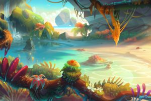 illustration, Fantasy art, Sunset, Bonsai, Water, Landscape, Mushroom