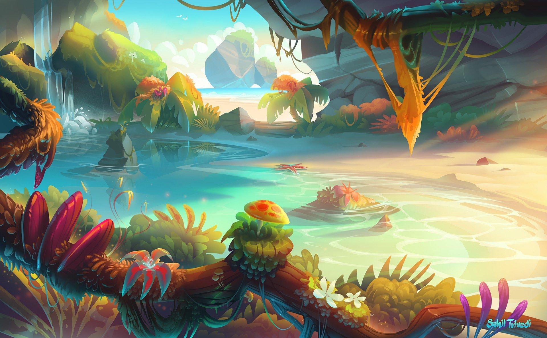 Illustration fantasy art sunset bonsai water - Fantasy desktop pictures ...