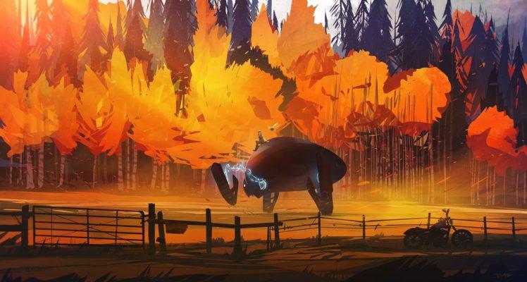 illustration, Fantasy art, Sunset, Bonsai, Artwork HD Wallpaper Desktop Background