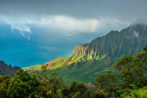 Kalalau Trail, Hawaii, Kauai, Pacific Ocean, Clouds, Mountains