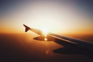 airplane, Airplane wing, Sunset, Lens flare