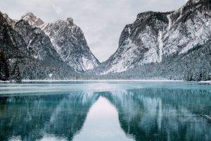 Italy, Toblacher See, Lake, Landscape, Mountains, Snow, Snowy peak