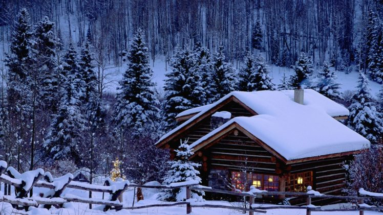 Christmas Snow Pine Trees Cabin Hd Wallpapers Desktop