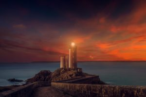 lighthouse, Sunset