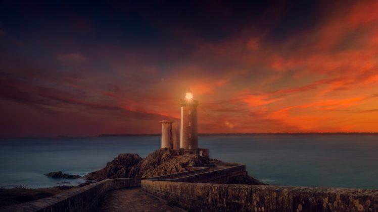 lighthouse, Sunset HD Wallpaper Desktop Background