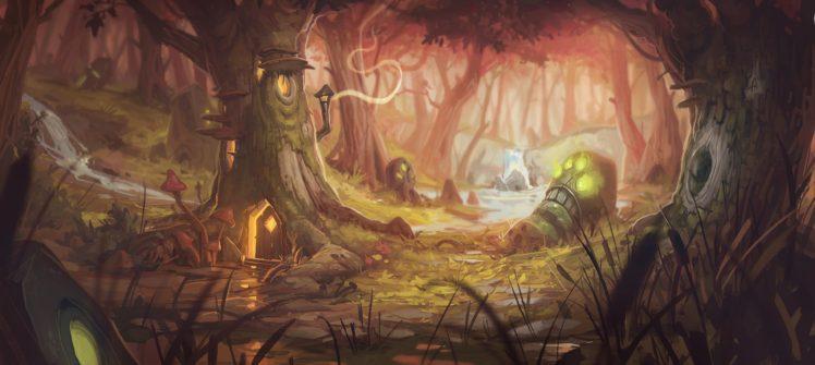 Quiet, Face, Teeth, Forest, Wood, Magic, Nook, Rocks, Door, House, Chimneys, Window, Mushroom, Radiation, Stone, Stream, Lights, Grass, Shadow HD Wallpaper Desktop Background