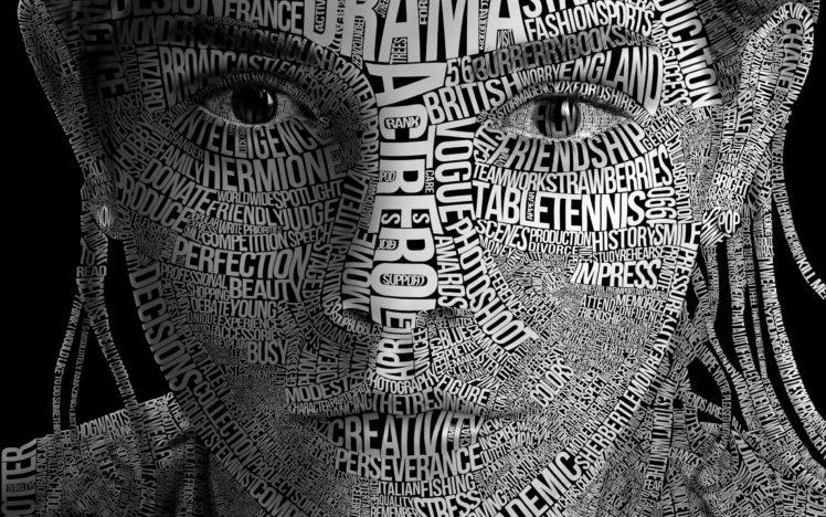 women, Face, Emma Watson, Typography, Typographic, Monochrome HD Wallpaper Desktop Background