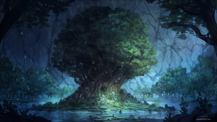 trees, Lake, Cave HD Wallpaper Desktop Background