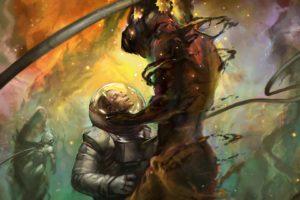astronaut, Space, Nebula, Stars, Artwork, Science fiction