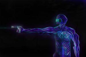 drawing, Anime art, Futuristic armor, Neon, Soft shading