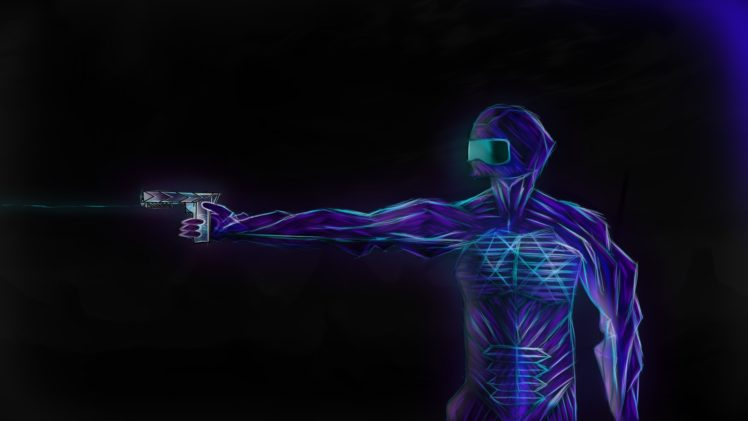 drawing, Anime art, Futuristic armor, Neon, Soft shading HD Wallpaper Desktop Background