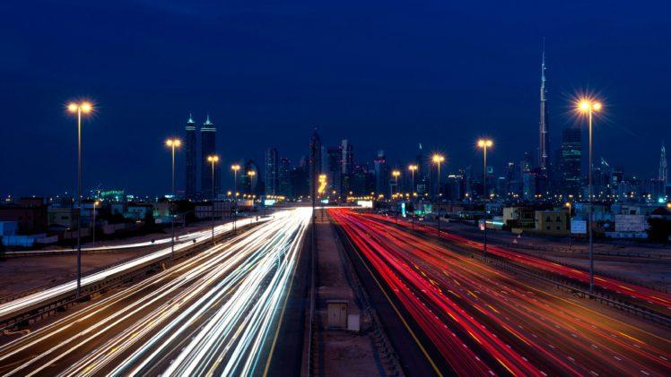 Dubai, Nightscape, Long exposure, Traffic, Cityscape HD Wallpaper Desktop Background