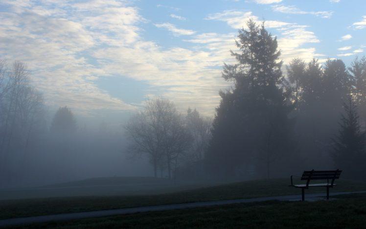 bench, Sky, Trees, Clouds HD Wallpaper Desktop Background