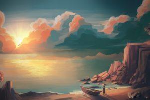 illustration, Sunset, Mountains, Sun, Artwork