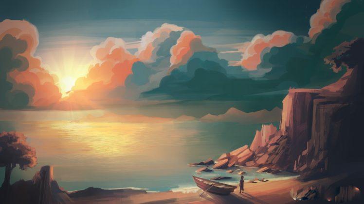 illustration, Sunset, Mountains, Sun, Artwork HD Wallpaper Desktop Background