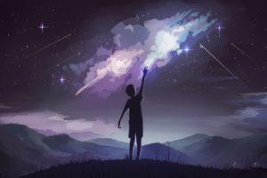 illustration, Night, Mountains, Stars, Artwork