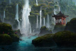 fantasy art, Waterfall, Shrine, Asian architecture