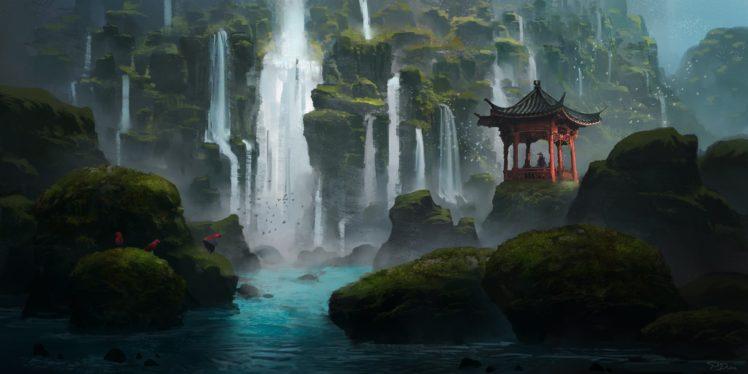 fantasy art, Waterfall, Shrine, Asian architecture HD Wallpaper Desktop Background
