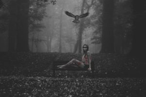 women, Women outdoors, Photoshop, Photo manipulation, Owl, Nature, Bird of prey, Forest