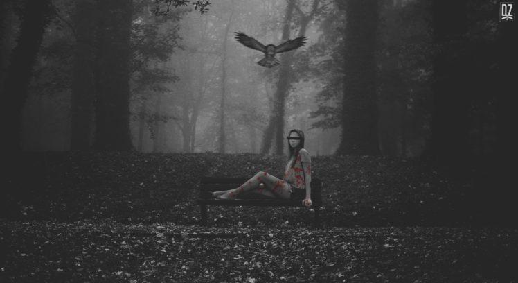 women, Women outdoors, Photoshop, Photo manipulation, Owl, Nature, Bird of prey, Forest HD Wallpaper Desktop Background