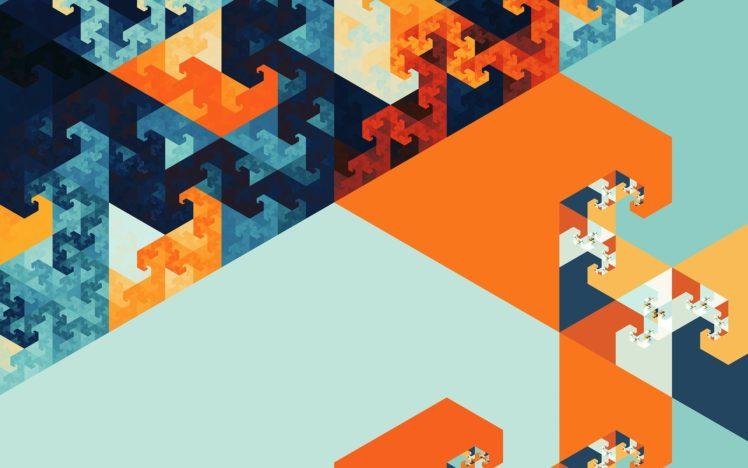 abstract, Fractal, Blue, Orange HD Wallpaper Desktop Background