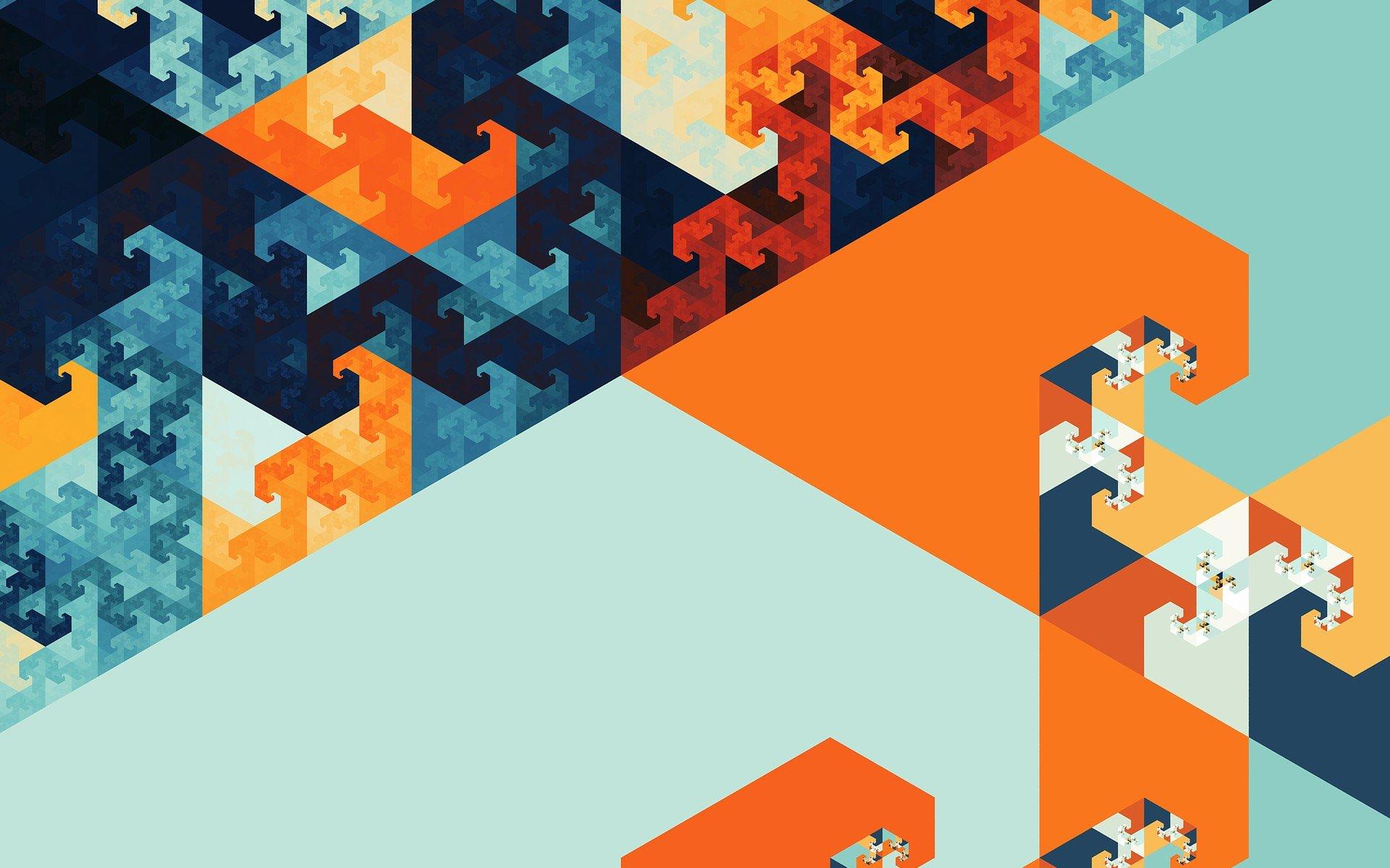 abstract fractal blue orange hd wallpapers desktop