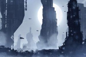 city, Futuristic, Night