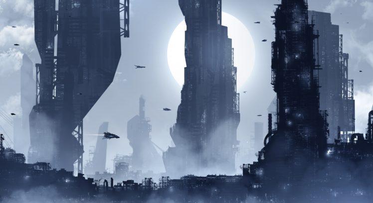 city, Futuristic, Night HD Wallpaper Desktop Background