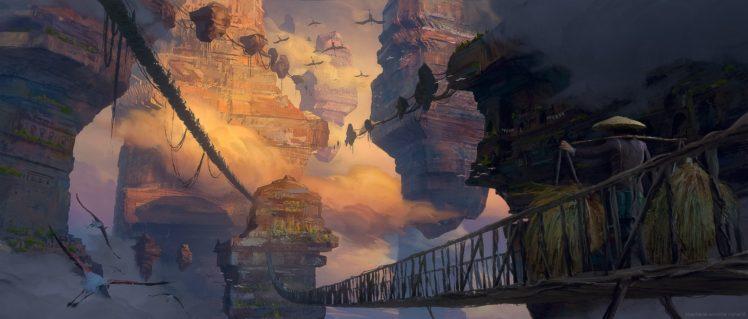digital art, Cityscape, Fantasy art, Clouds HD Wallpaper Desktop Background