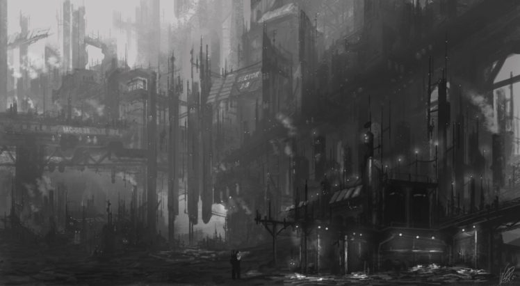 futuristic, Dystopian, Gray HD Wallpaper Desktop Background