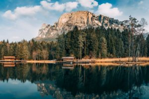 nature, Clouds, Trees, Lake, Reflection, Mountains, Forest