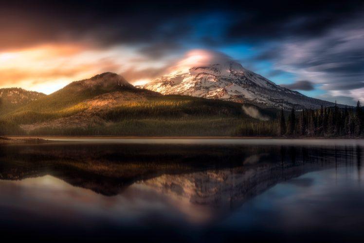 mountains, Lake, Sunset, Trees, Clouds, Landscape, Oregon HD Wallpaper Desktop Background