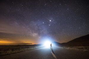 lights, Stars, Sky, Road