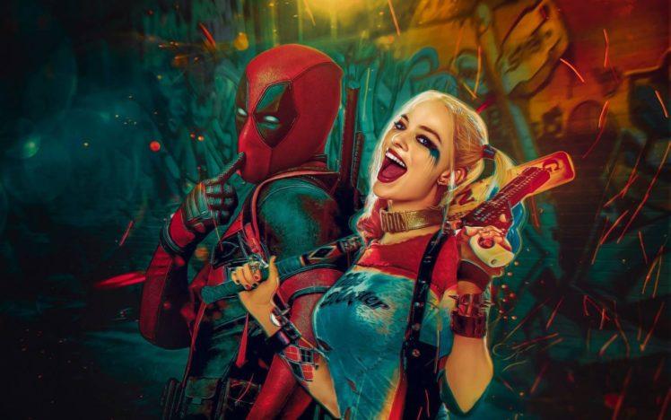 Harley Quinn Deadpool Marvel Comics DC HD Wallpaper Desktop Background