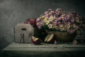 apples, Basket, Flowers