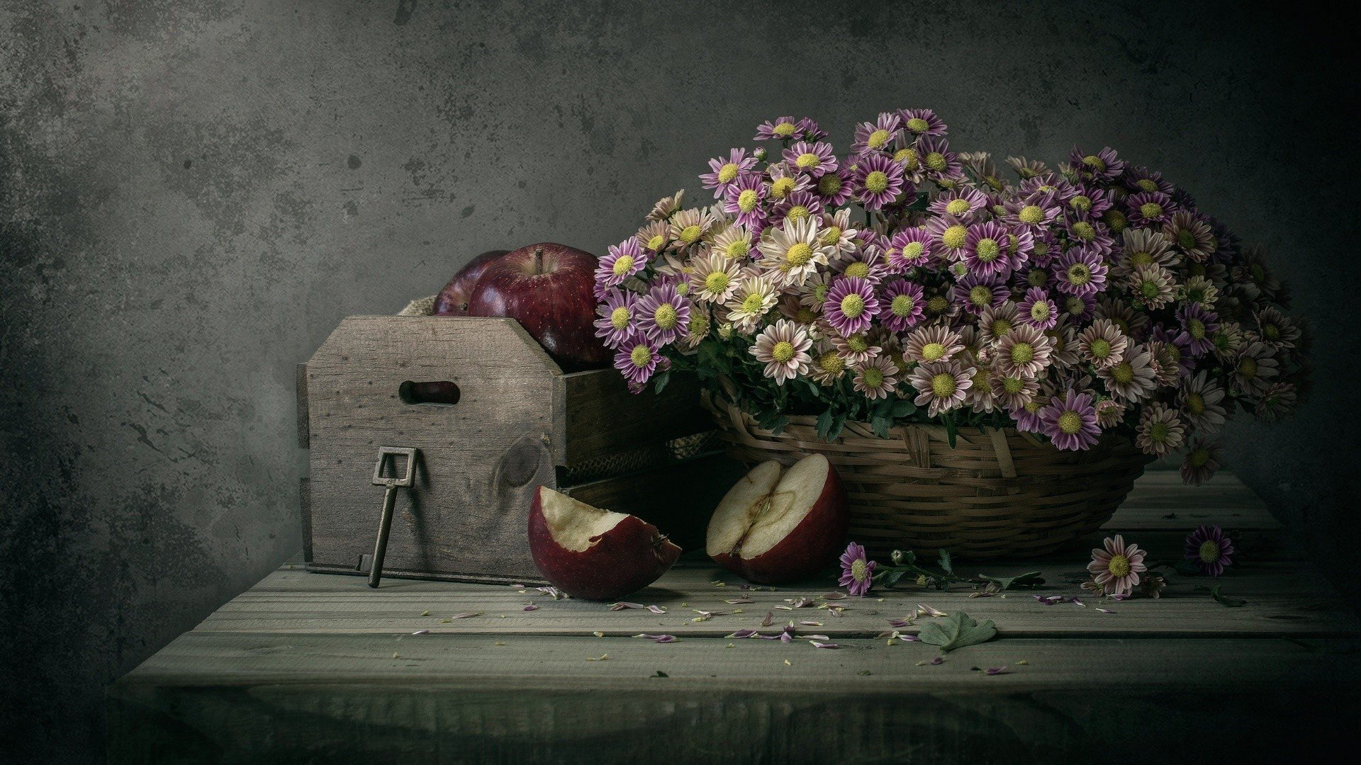 Apples, Basket, Flowers HD Wallpapers / Desktop And Mobile